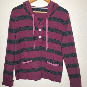 Tommy Hilfiger Striped Pullover Hoodie Size Large